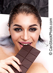Attractive girl takes a milk bath. - Attractive girl with...