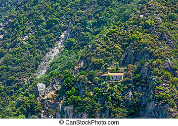 Skete on Mount Athos - Scenic view of distant skete on Mount...