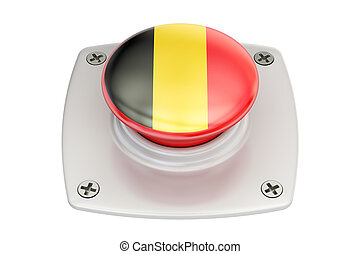 Belgium flag push button, 3D rendering