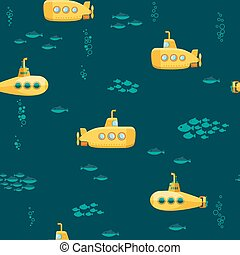 Yellow Submarine undersea with fishes pattern, Flat design....
