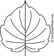 Hazel leaf icon, outline style - Hazel leaf icon. Outline...