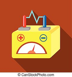 Car battery icon, flat style - Car battery icon. Flat...