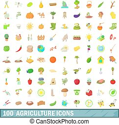 100 agriculture icons set, cartoon style - 100 agriculture...