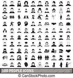 100 people icons set in simple style for any design vector...