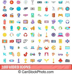 100 video icons set, cartoon style - 100 video icons set in...