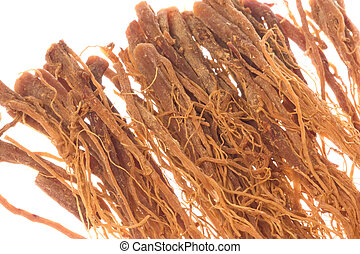 Korean Ginseng Roots Macro Isolated - Isolated macro image...