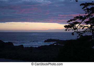 Sunset, view from beach in Ucluelet