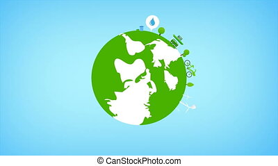 Rotate Globe and eco icon animation for nature saving and ecology concept