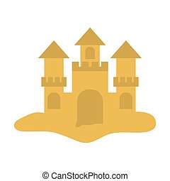 sandcastle icon image - sandcastle icon over white...