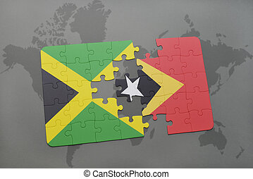 puzzle with the national flag of jamaica and east timor on a world map
