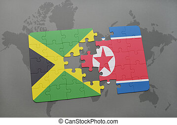 puzzle with the national flag of jamaica and north korea on...
