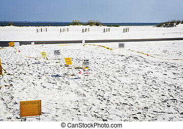 Oil Spill Recovery Sign on Beach - Oil spill recovery signs...