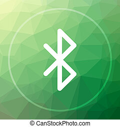 Bluetooth icon. Bluetooth website button on green low poly...