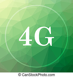 4G icon. 4G website button on green low poly background.