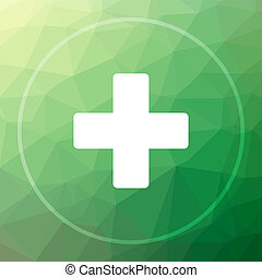Medical cross icon. Medical cross website button on green...