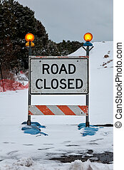 Road Closed Sign - Snowy road closed sign at the Grand...