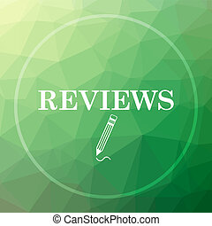 Reviews icon. Reviews website button on green low poly...