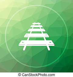 Rail road icon. Rail road website button on green low poly...
