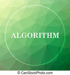 Algorithm icon. Algorithm website button on green low poly...
