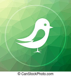 Bird icon. Bird website button on green low poly background.