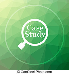 Case study icon. Case study website button on green low poly...
