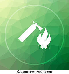 Fire icon. Fire website button on green low poly background.