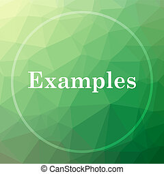 Examples icon. Examples website button on green low poly...
