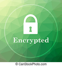 Encrypted icon. Encrypted website button on green low poly...