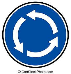 Roundabout sign - Vector illustration of the blue roundabout...