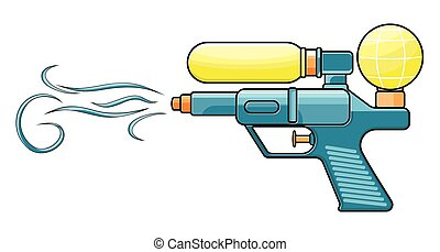Water gun - Vector illustration of the water gun on a white...