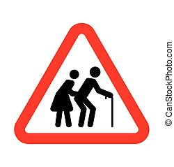 Sign - Vector illustration of the sign with elderly people