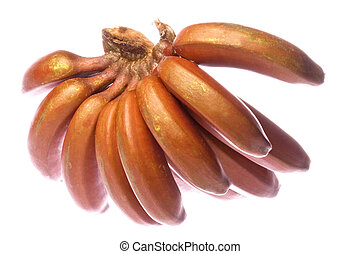 Red Bananas Isolated - Isolated macro image of red bananas.