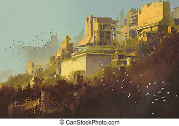 abandoned buildings in futuristic city at sunset,sci-fi...