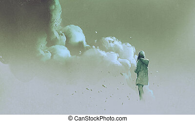 alone woman standing in front of smoke
