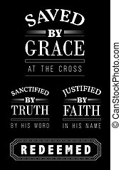 Saved by Grace at the cross Christian Emblem Lettering Collection