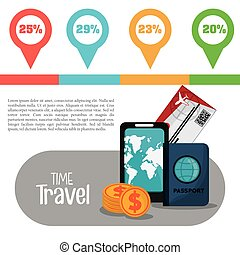 time travel infographic vacation info vector illustration...