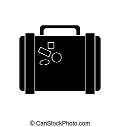 suitcase travel with stickers pictogram