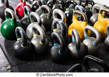 Different Sizes Of Kettle Bell In The Gym
