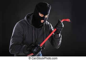 Portrait Of A Burglar With A Crowbar