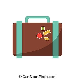 suitcase travel with stickers icon