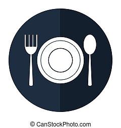plate spoon fork utensils shadow