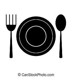plate spoon fork utensils pictogram