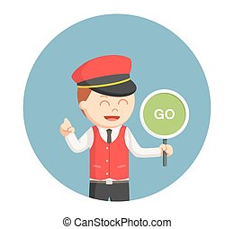 male valet with go sign in circle background
