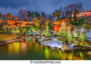 Gardens in Japan - Kanazawa, Japan at Gyokuseninmaru Garden.