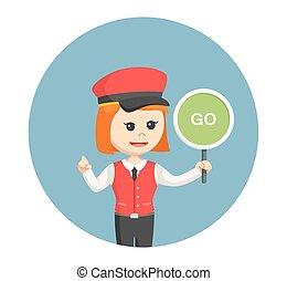 female valet with go sign in circle background