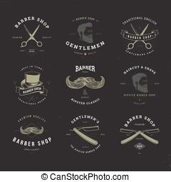 barber shop logo set invert