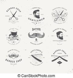 barber shop logo set - barber shop old fashioned logo set