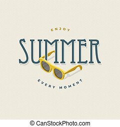 summer vintage sign with sunglasses