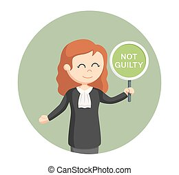 judge woman with not guilty sign in circle background