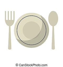 plate spoon fork utensils